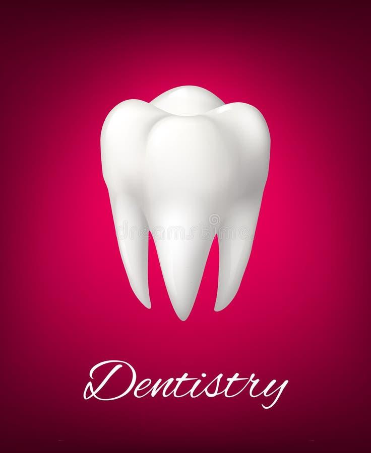 Weißer Zahn des Vektors 3D für Zahnheilkundeplakat lizenzfreie abbildung