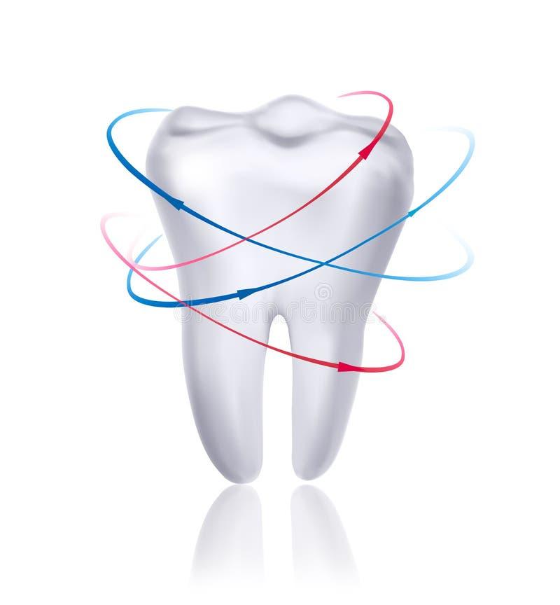 Weißer Zahn umgeben durch Strahlen. Kümmern von  um te stock abbildung