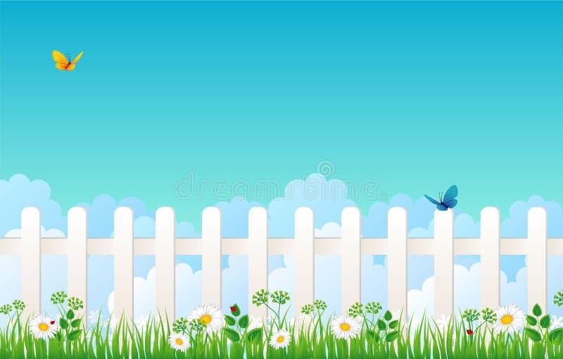 Weißer Zaun mit Gras vektor abbildung