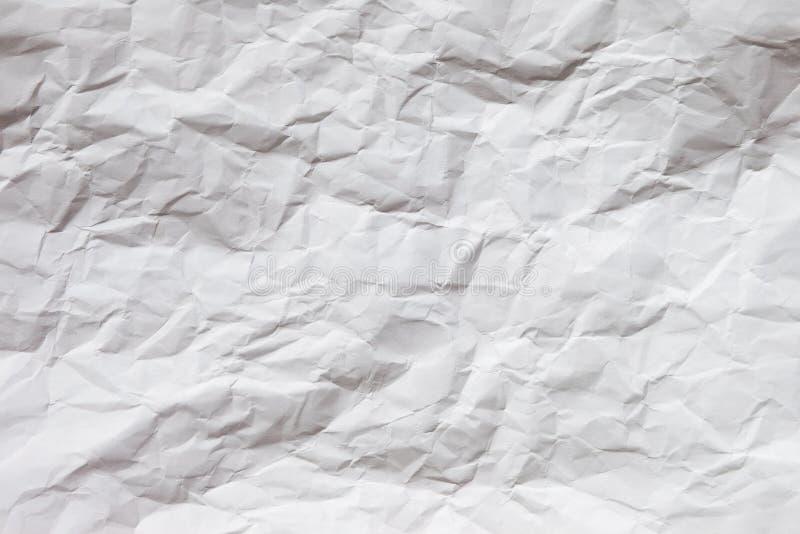 Weißer zerknitterter Papierhintergrund stockfotos