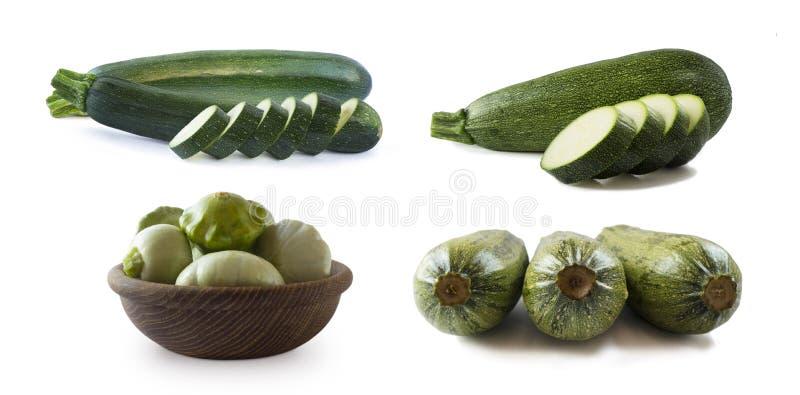 Weißer Zucchini, frisch zugeschnitten Entwurfselement für das Produktzeichen Designbild des frischen ganzen Zucchini Grün stockbilder