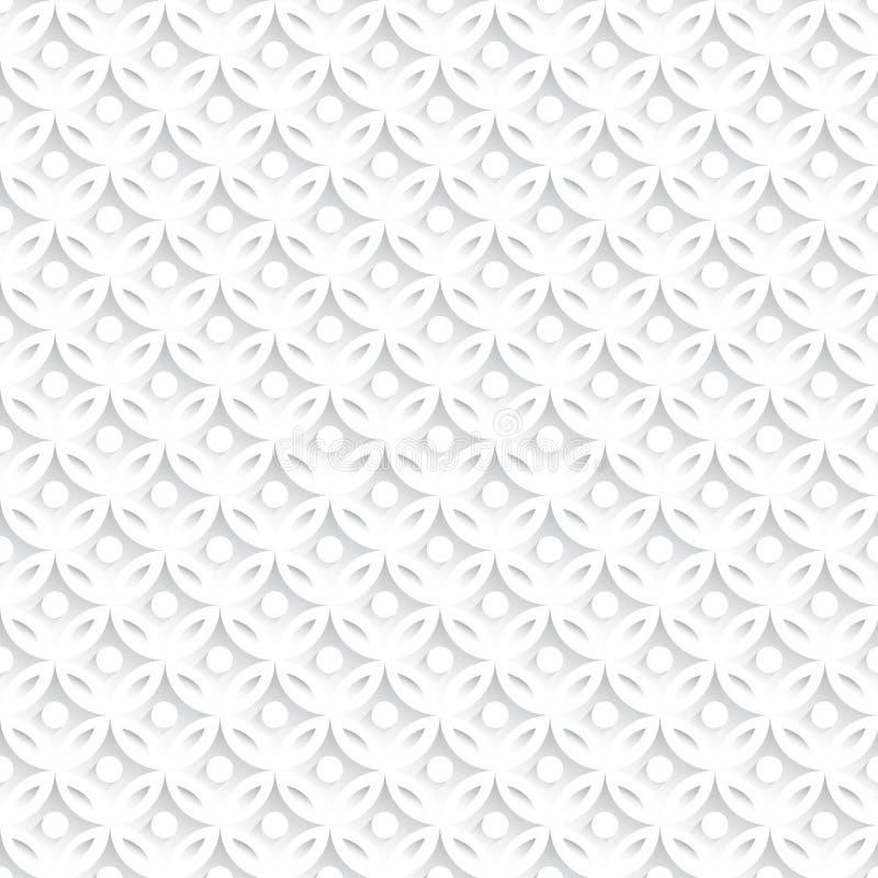 Weißes abstraktes nahtloses Muster mit geometrischen Verzierungen lizenzfreie abbildung