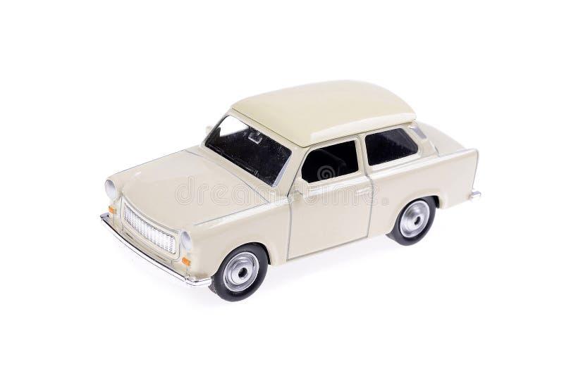 Weißes altes Spielzeugauto stockbild