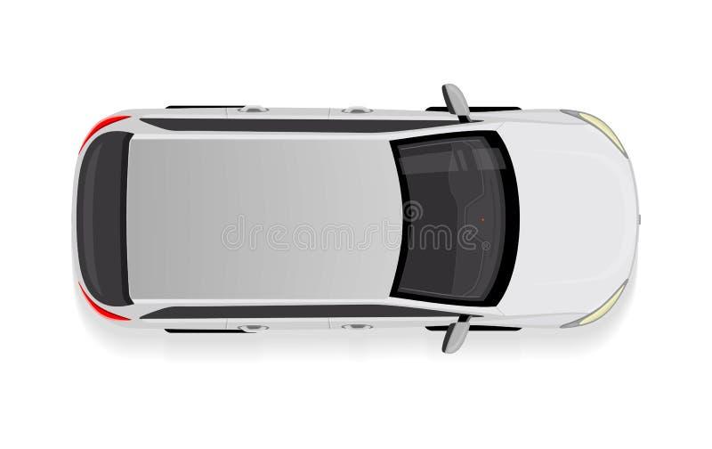Weißes Auto von der Draufsicht-Vektor-Illustration lizenzfreie abbildung