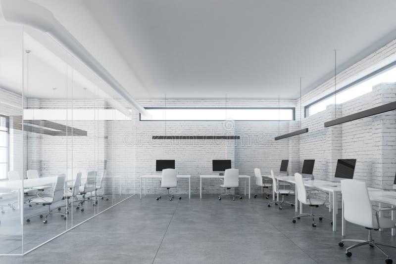 Weißes Büro des Ziegelsteinoffenen raumes, vorder lizenzfreie abbildung