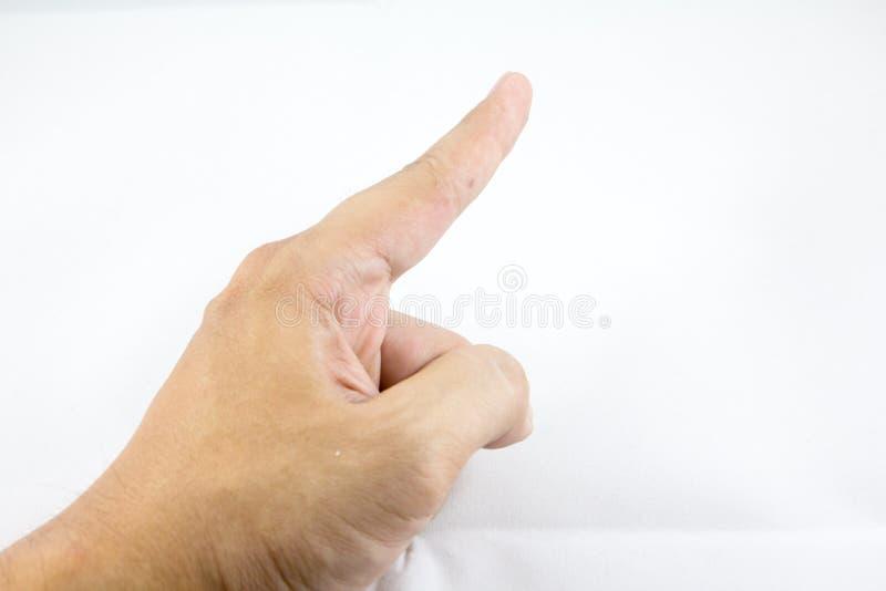 Weißes backgroung Isolat des Fingerpunktes stockfotos