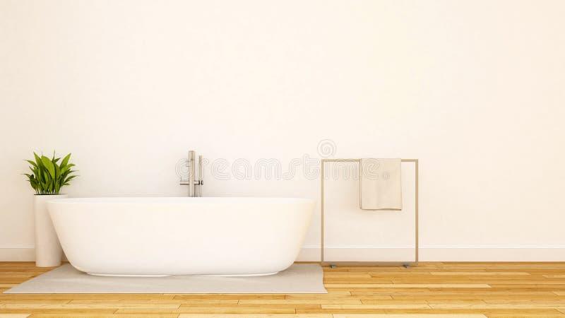 Weißes Badezimmer minimale design-3D Wiedergabe vektor abbildung
