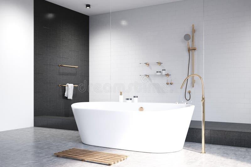 Weißes Badezimmer Mit Schwarzer Fliesenseite Stock Abbildung ...