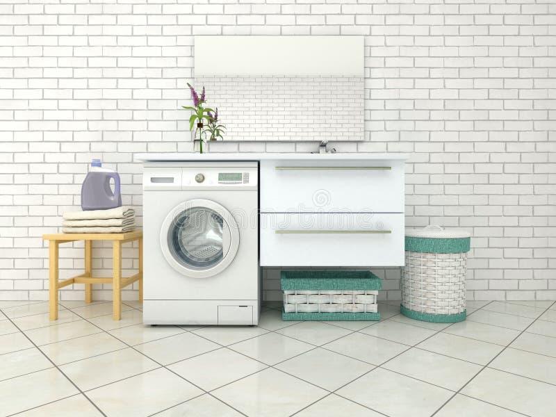 Weißes Badezimmer mit Waschmaschine lizenzfreie stockbilder