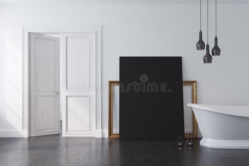 Weißes Badezimmer, schwarzes Plakat stock abbildung