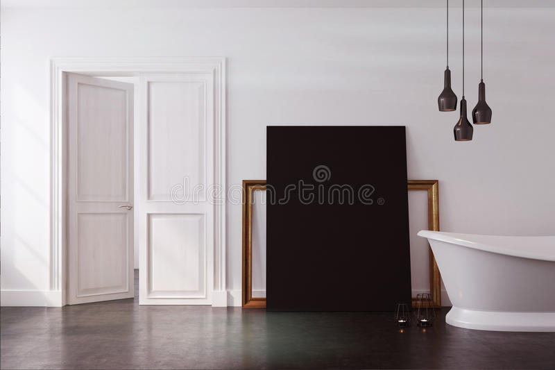 Weißes Badezimmer, schwarzes Plakat getont stock abbildung