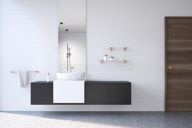 Weißes Badezimmer, Schwarzes Regal, Spiegel Stock Abbildung ...