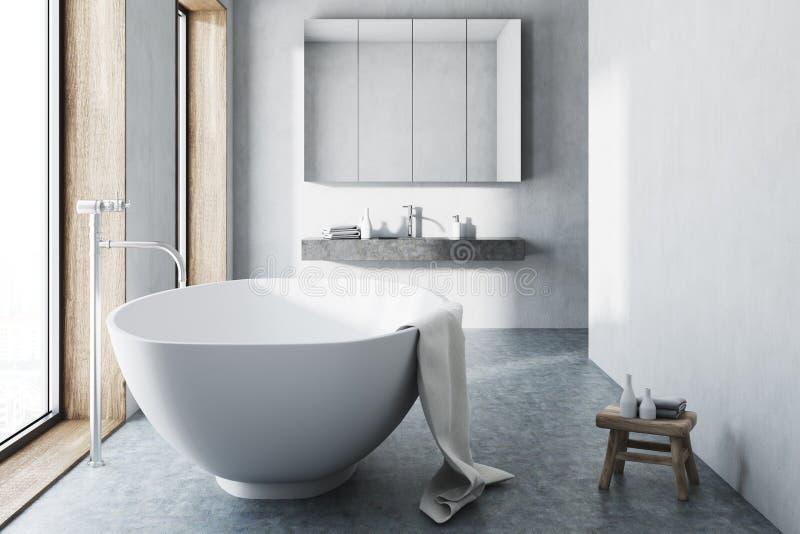 Weißes Badezimmer, weiße Wanne, konkreter Boden stock abbildung