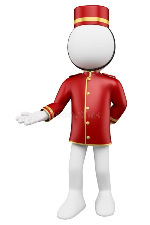 weiße Leute 3D. Hotelpagebegrüßen lizenzfreie abbildung