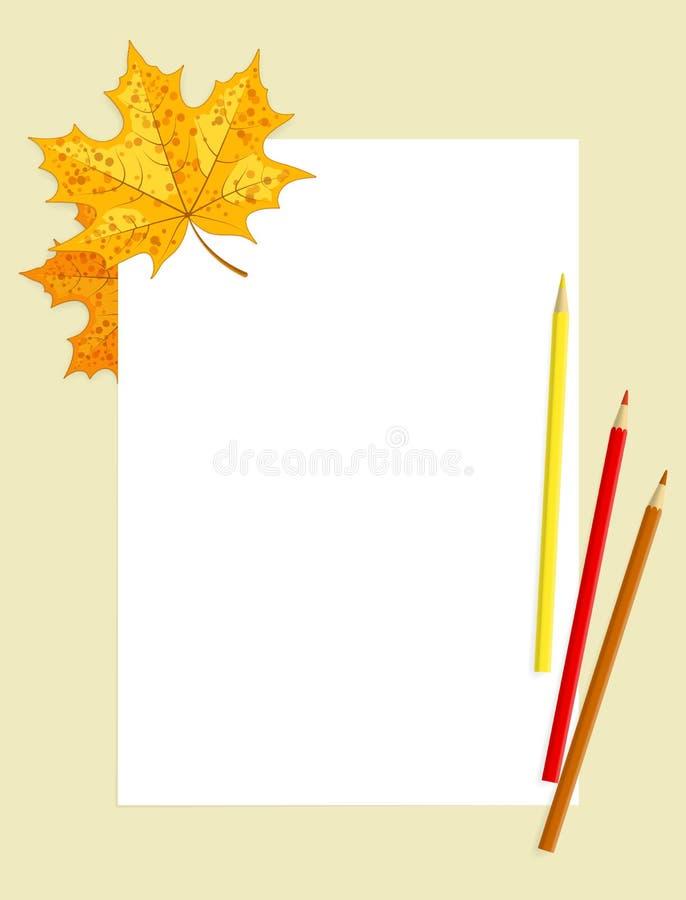 Weißes Blatt, farbige Bleistifte und Ahornblätter lizenzfreie abbildung