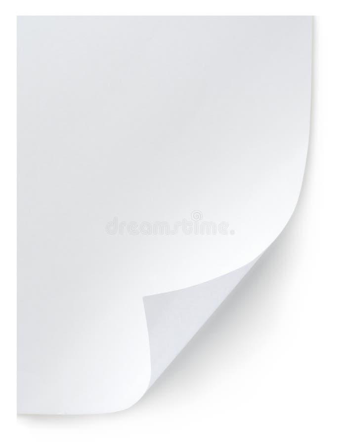Weißes Blatt Papier getrennt stockfotos
