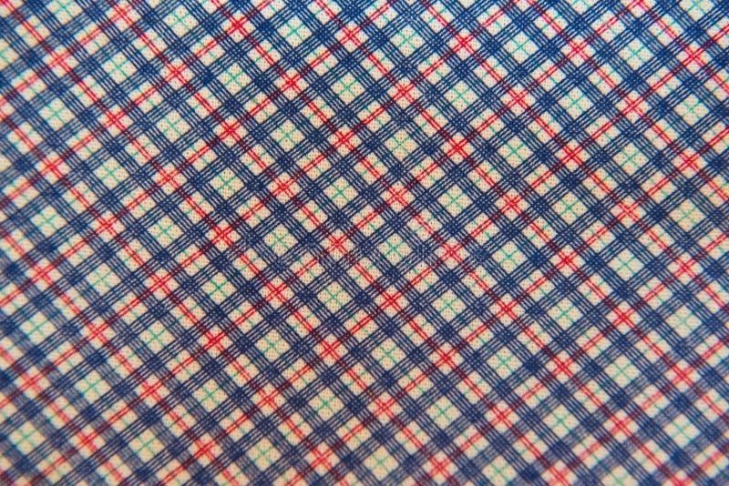 Weißes blaues Rot des Nahaufnahmeplaidgewebes für Hintergrund stockfotografie
