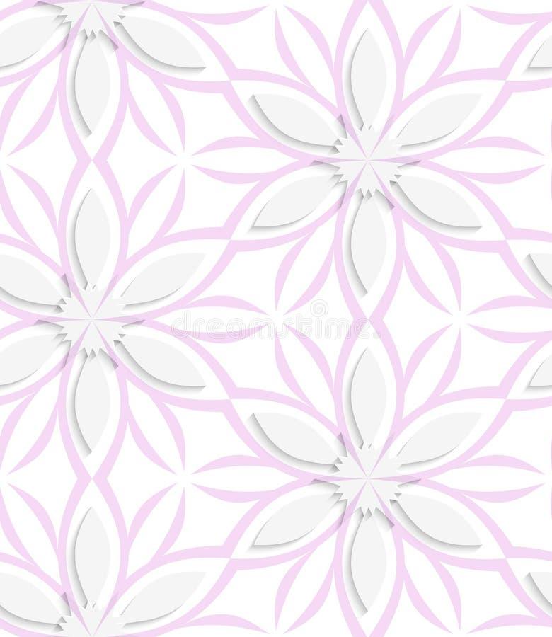 Weißes Blumen mit der Rosaüberlagerung nahtlos stock abbildung