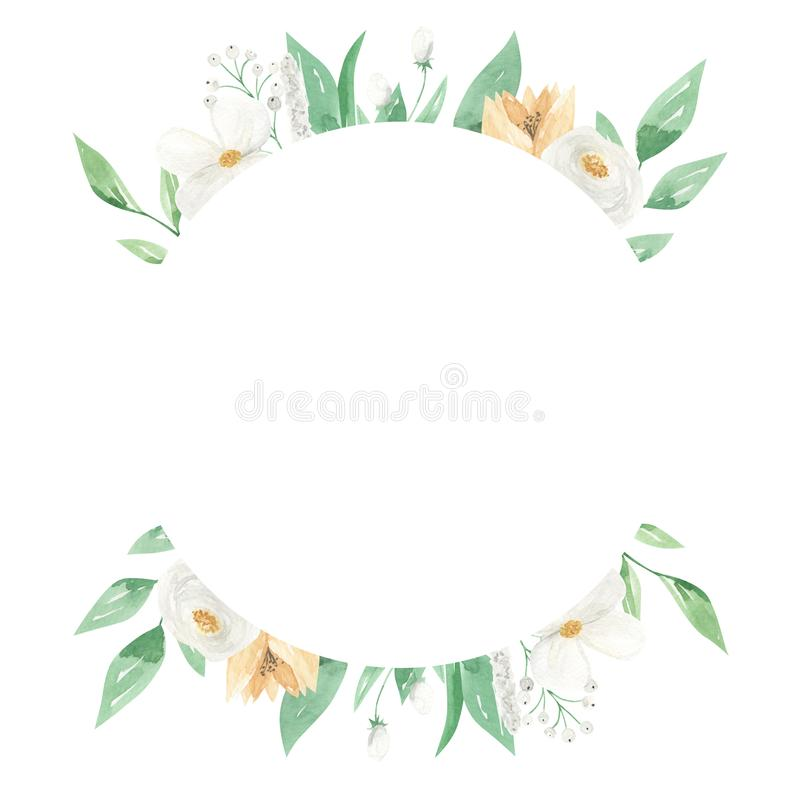 Weißes Blumenkreis-Rahmen-Grün lässt Blumenblatt-Gelb-Grenze stock abbildung