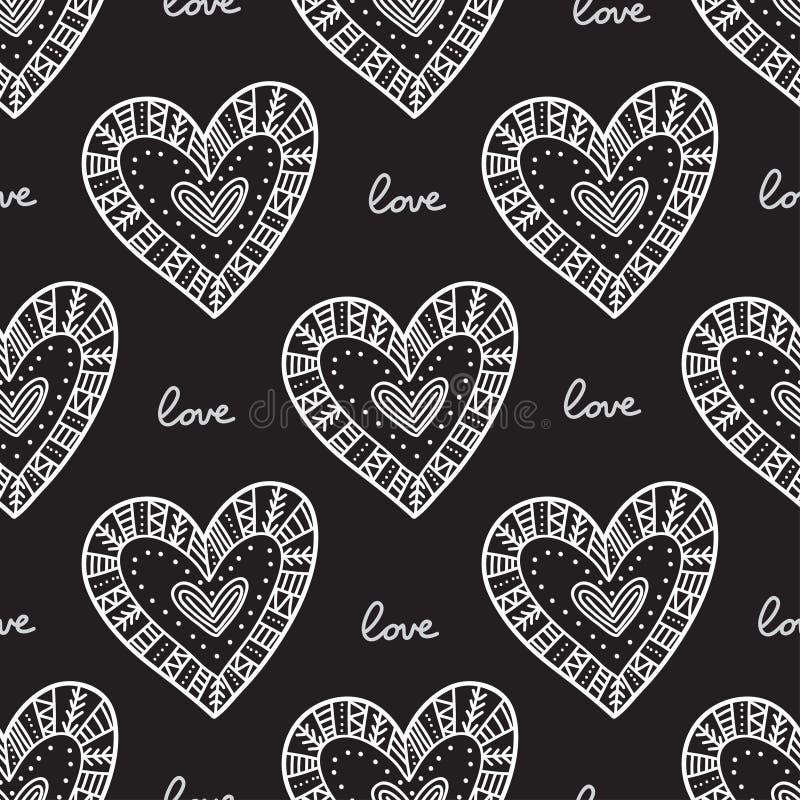 Weißes boho dekorative Herzen auf nahtlosem Muster des schwarzen Hintergrundes lizenzfreie abbildung