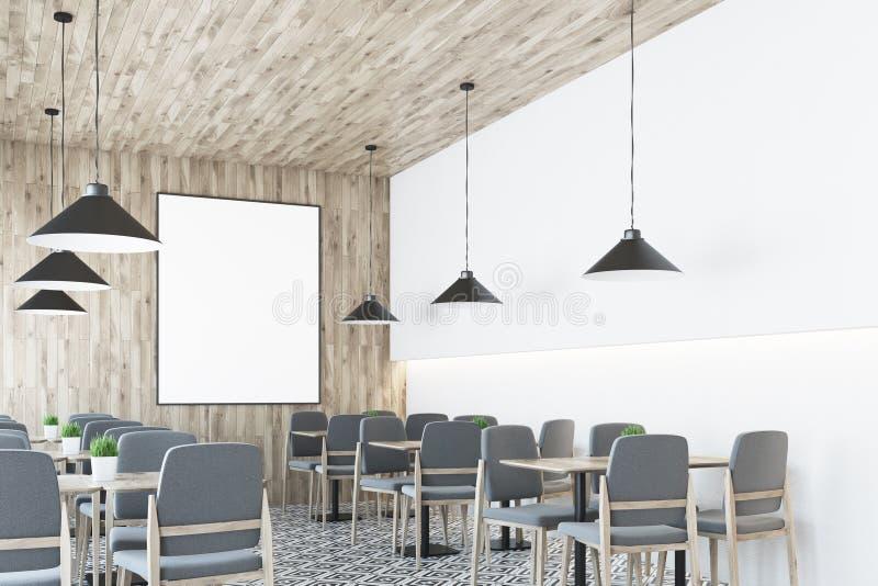 Weißes Café, hölzerne Decke, Plakatseite vektor abbildung