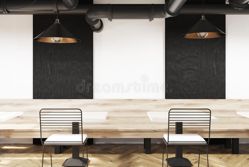 Weißes Café mit Bänke und Tafeln lizenzfreie abbildung