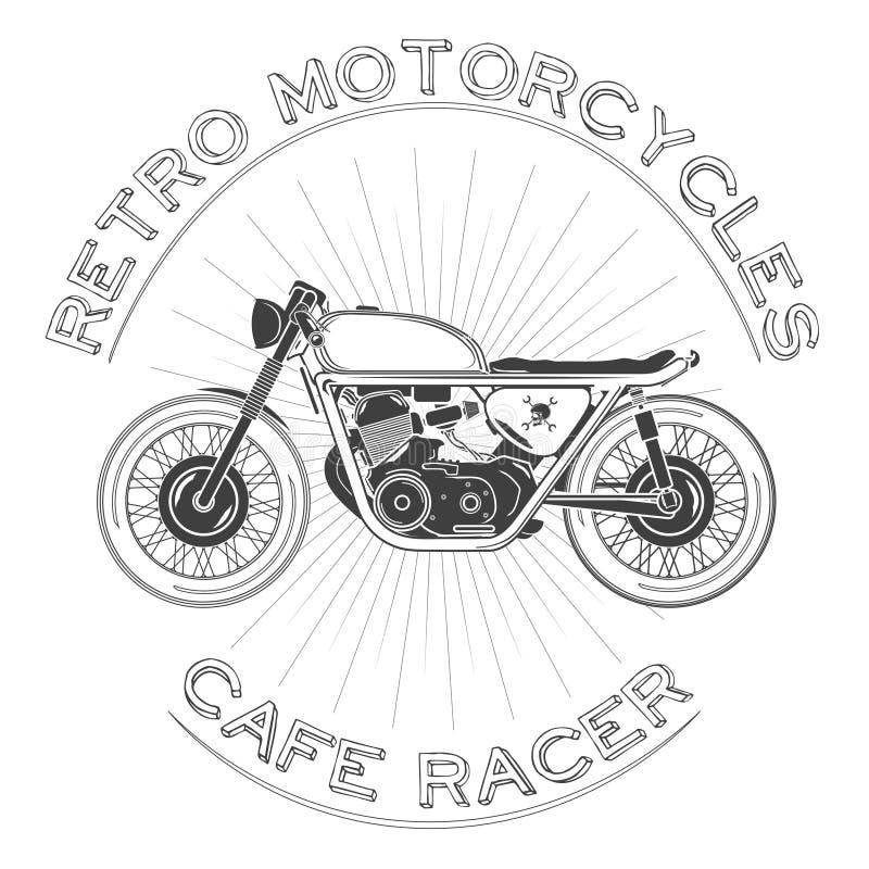 Weißes caferacer Logo Retro- Motorrad Auch im corel abgehobenen Betrag Caférennläuferthema lizenzfreie stockbilder