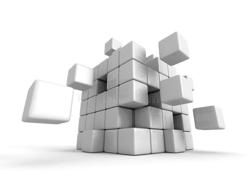 Weißes 3d blockiert Würfelstrukturorganisation lizenzfreie stockbilder