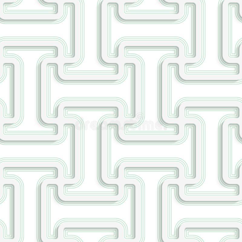 Weißes 3D mit abgerundete Form der Farbe T mit der grünen Überlagerung stock abbildung