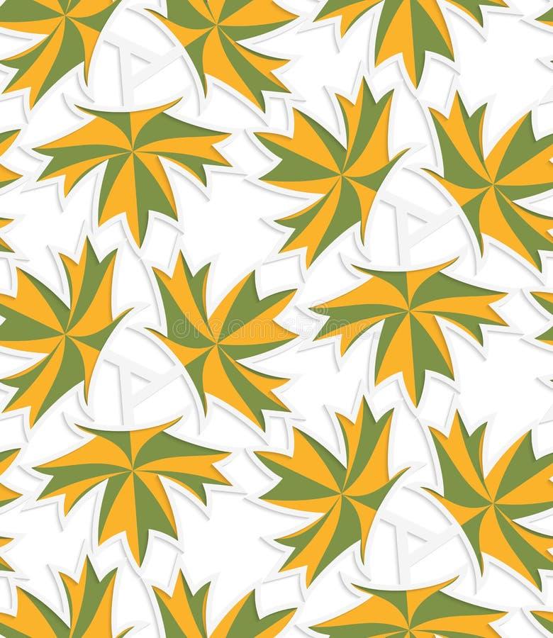 Weißes 3D mit den Farben grün und den gelben Ahornblättern lizenzfreie abbildung