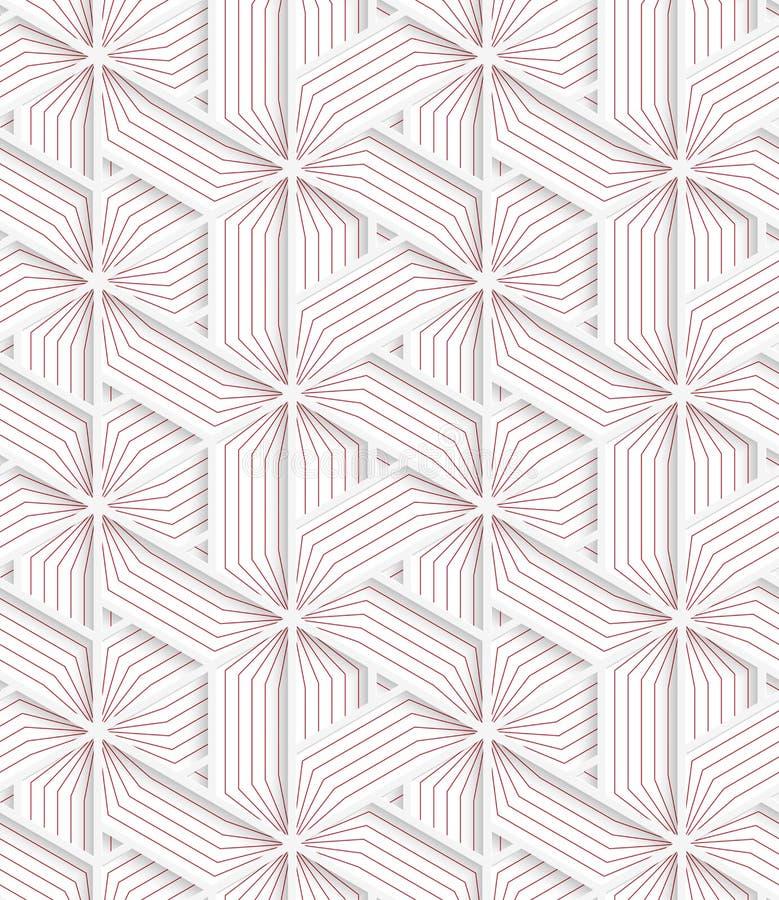 Weißes 3D mit Farbdreieckigem Gitter mit Rot stock abbildung