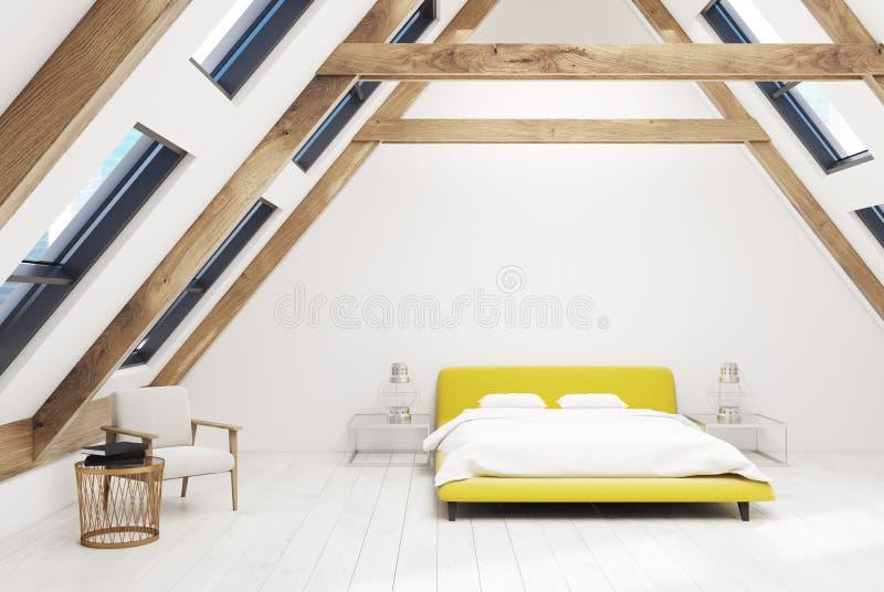 Weißes Dachbodenschlafzimmer Innen, gelbes Bett lizenzfreie abbildung