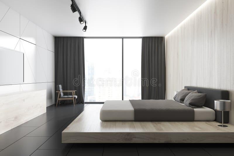 Weißes Dachbodenschlafzimmer mit einem Fernseher, eine Seitenansicht vektor abbildung
