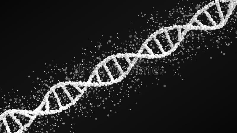 Weißes DNA-Molekülballmodell mit Partikeln, Wiedergabe 3D lizenzfreie abbildung