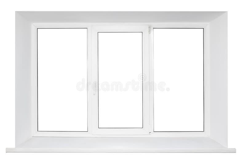 Weißes dreifaches Türplastikfenster stockfotografie