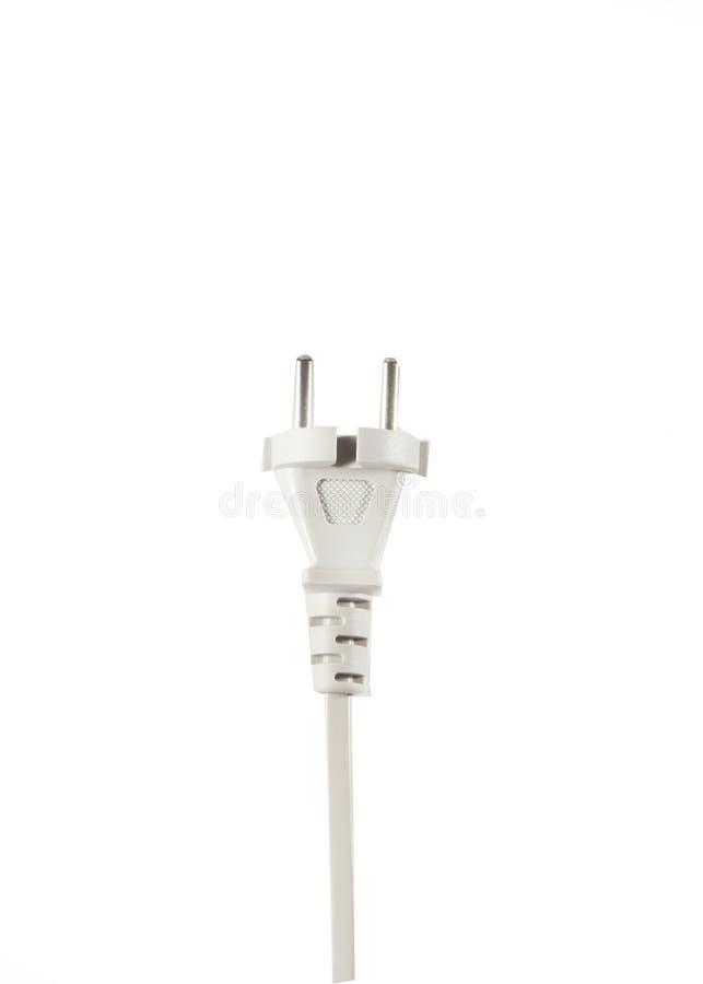 Weißes Electric Power verkabeln 220v lokalisiert auf weißem Hintergrund lizenzfreies stockbild