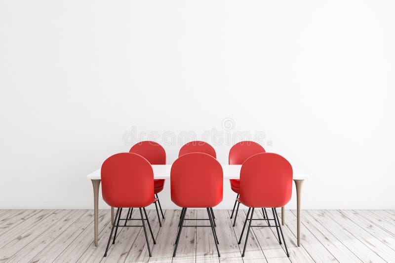 Weißes Esszimmer mit roten Stühlen stock abbildung