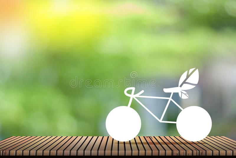 Weißes Fahrrad, natürlicher grüner Hintergrund - Konzept des globalen Erwärmungsund Rettungsgeldes stockfotografie