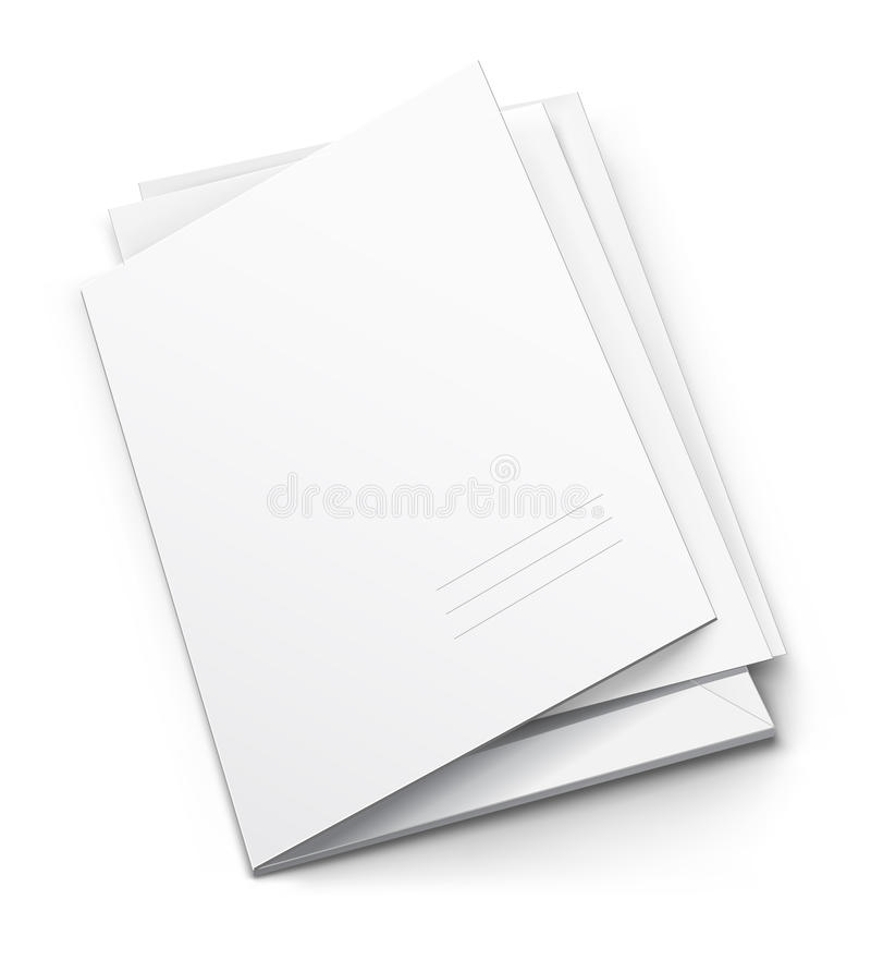 Weißes Faltblatt mit unbelegter nomineller Abdeckung vektor abbildung