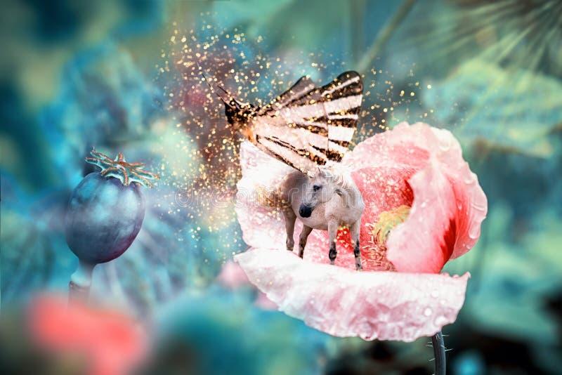 Weißes feenhaftes Einhorn mit Schmetterling beflügelt auf blühende rosa Mohnblumenblume Realistische Märchenmagiemanipulation Fla stockfotos