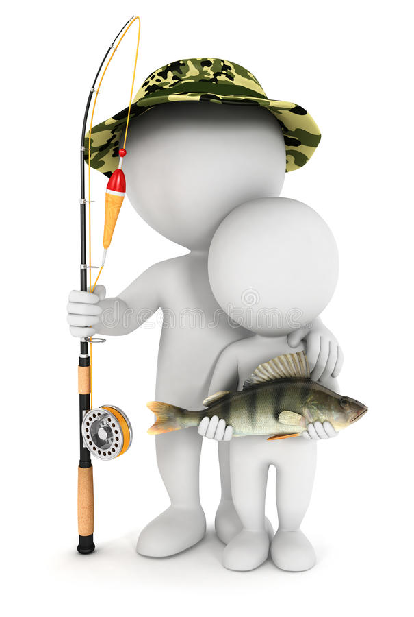 weißes Fischen der Leute 3d mit seinem Sohn vektor abbildung