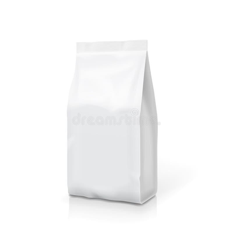 Weißes Folien- oder Papierlebensmittel stehen oben Snacktaschenbeschneidungspfad Leere Kissenverpackungsillustration Vektor lokal vektor abbildung