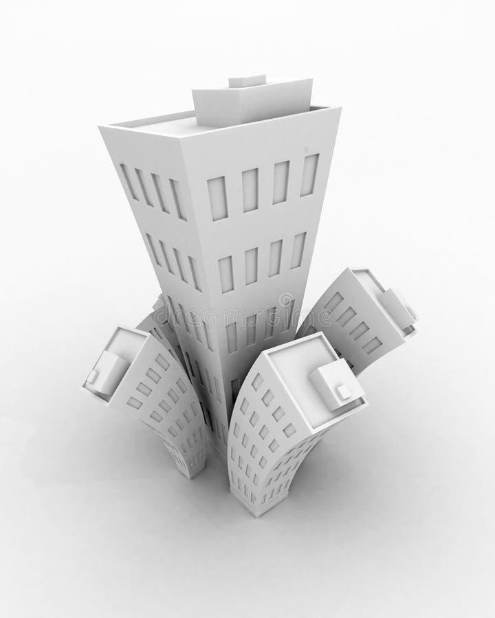 Weißes Gebäudewachstum Der Karikatur-3d, Getrennt Stockfoto