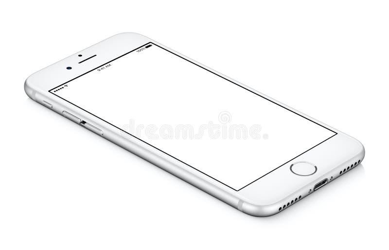Weißes gedrehtes Smartphonemodell CCW liegt auf der Oberfläche mit bla stockbild