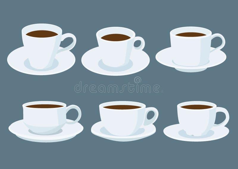 Weißes gelbes rotes blaues grünes Schwarzes Kaffeetasse Weiß und der multi Farbe vieler Kaffeetassen stock abbildung
