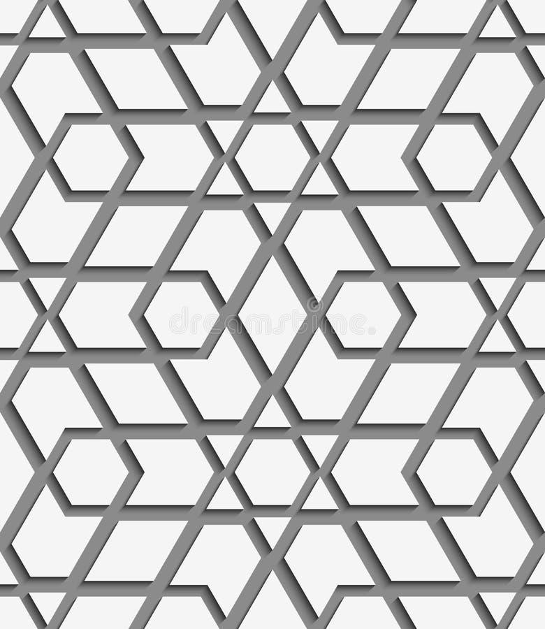 Weißes geometrisches ausführliches auf grauem nahtlosem Muster stock abbildung