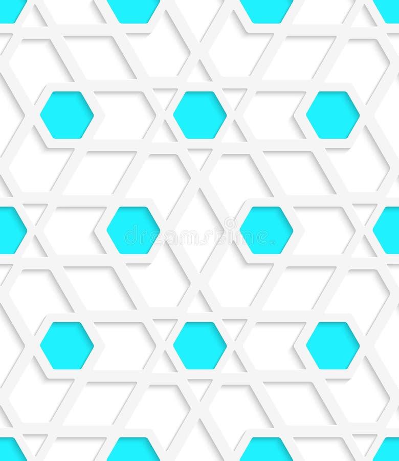 Weißes geometrisches ausführliches mit blaue Hexagone grauem nahtlosem patt lizenzfreie abbildung