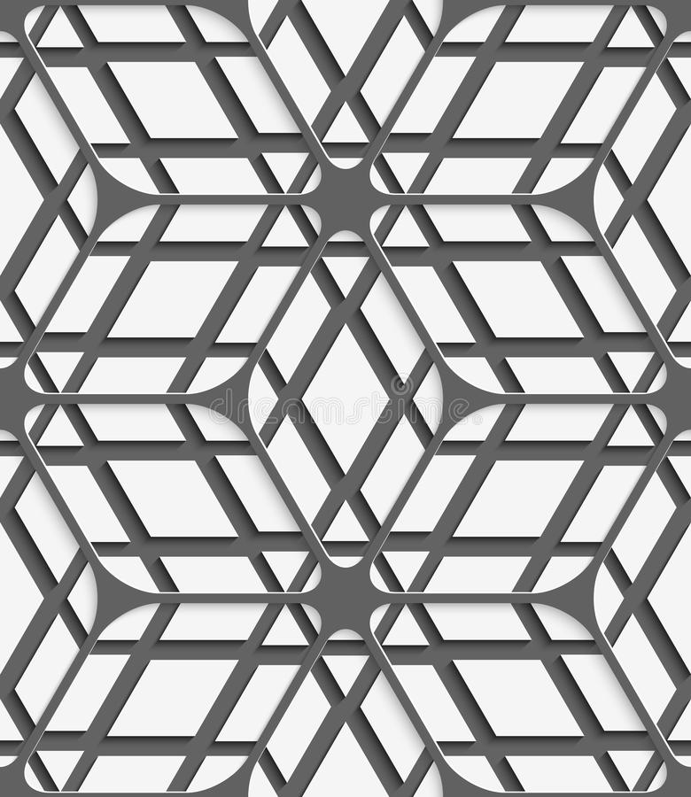 Weißes geometrisches ausführliches mit grauem Netz auf grauem nahtlosem Rüttler vektor abbildung