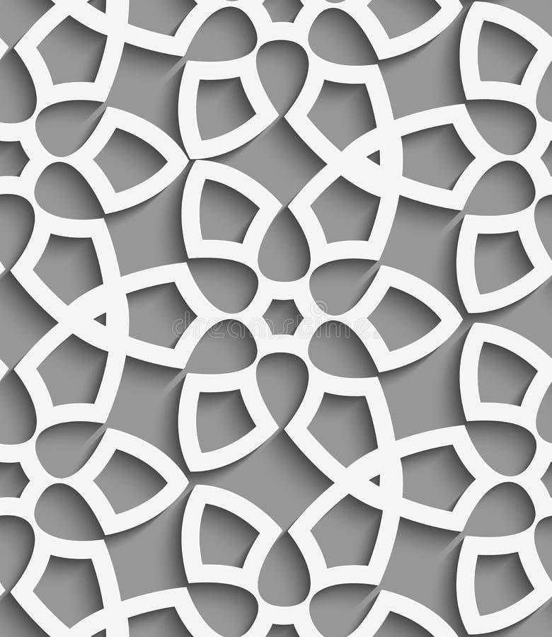 Weißes geometrisches floristisches Netz auf grauem nahtlosem Muster stock abbildung
