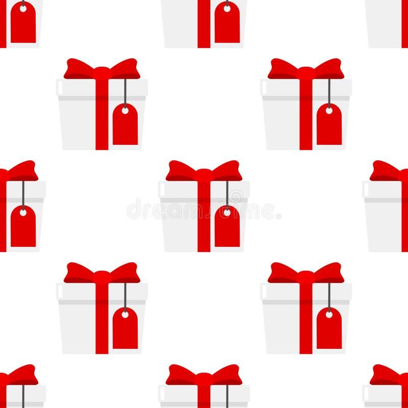 Weißes Geschenk mit der leeren Aufkleber-Ikone nahtlos vektor abbildung